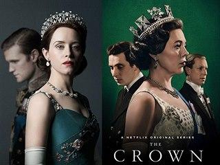 Claire Foyová a Olivia Colmanová jako královna Alžběta II. v seriálu Koruna
