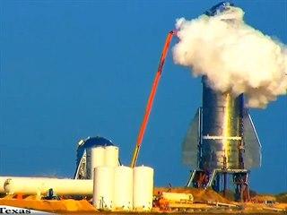 Neúspěšný test nedokončeného prototypu lodi Starship společnosti SpaceX.