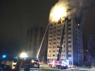 Hasiči se potýkali s požárem po výbuchu v Prešově i ve večerních hodinách.