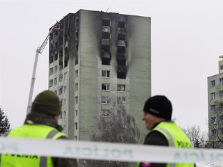 Prešovský panelák v Mukačevské ulici po uhašení požáru (7. prosince 2019)