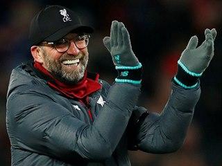 Trenér fotbalistů Liverpoolu Jürgen Klopp po vítězném zápase.