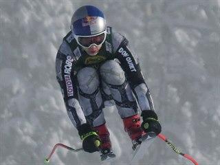 Ester Ledecká na trati superobřího slalomu v Lake Louise.