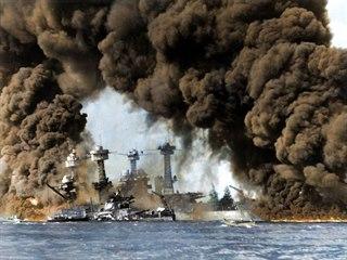 Obarvený snímek útoku na Pearl Harbor