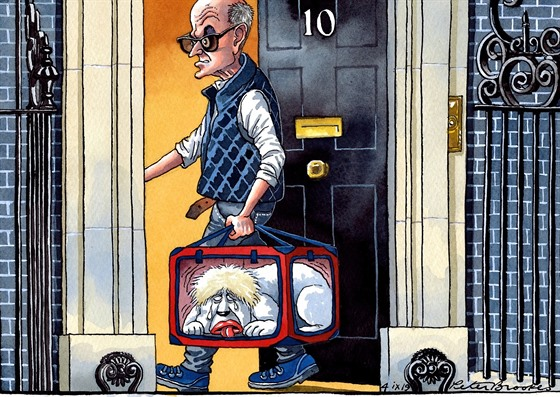 Dominic Cummings  a Boris Johnson na karikatuře deníku The Times