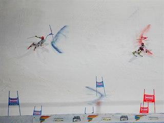 Roland Leitinger (vpravo) vs. Leif Kristian Nestvold-Haugen v paralelním obřím...