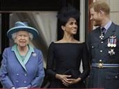 Královna Alžběta II., vévodkyně Meghan a princ Harry (Londýn, 10. července 2018)