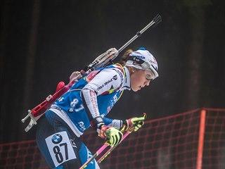 Česká biatlonistka  Tereza Voborníková ve sprintu v Oberhofu.
