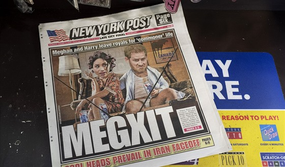 Princ Harry a vévodkyně Meghan na obálce New York Post (New York, 9. ledna 2020)