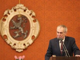 Prezident Miloš Zeman předal na Pražském hradě šek na dva miliony korun Fondu...