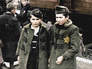 Kolorovaná verze jedné z fotografií takzvaného Osvětimského alba, které v...