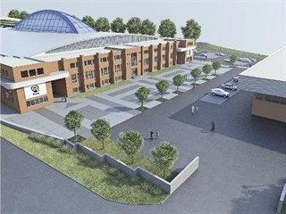 Plánovaná podoba Zimního stadionu Luďka Čajky ve Zlíně po rekonstrukci.