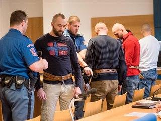 Zleva jsou na snímku obžalovaní Tomáš Kožuch, Dávid Kortiš, Marek Hančín a...