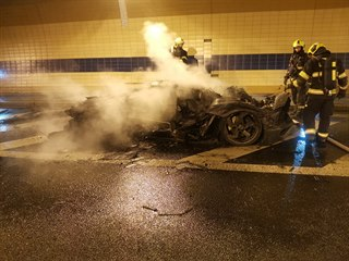 Požár auta v tunelu Blanka. (16. ledna 2020)