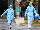Zdravotníci z wu-chanské nemocnice, kde se léčí pacienti s pneumonií způsobenou...