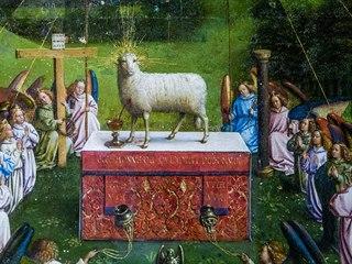 Obraz Klanění Beránku božímu po restaurování
