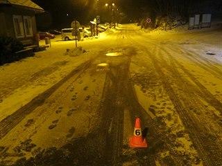 Křižovatka v Dolní Málé Úpě, kde se sáňkař srazil s autem (20.1.2020).
