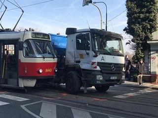 Nehoda tramvaje s nákladním autem (22.1.2020)