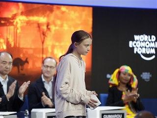 Aktivistka Greta Thunbergová na Světovém ekonomickém fóru ve švýcarském Davosu...