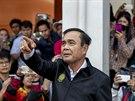 Thajský premiér Prajutch Čan-Oča na tiskové konferenci k masové střelbě, při...