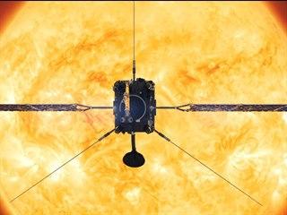 Ilustrace sondy Solar Orbiter u Slunce