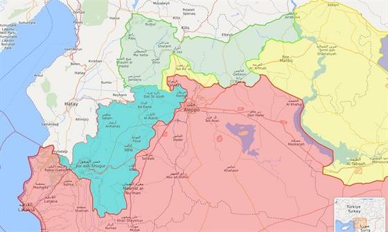 Situace na severozápadě Sýrie v polovině února. Červenou barvou jsou označená...