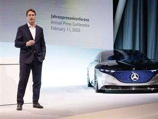 Ola Källenius na tiskové konferenci zveřejnil výsledky hospodaření automobilky...
