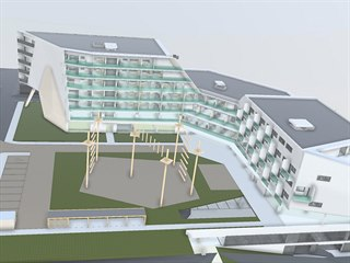 Místo tenisového kurtu a části zeleně chce developer naproti Základní škole...