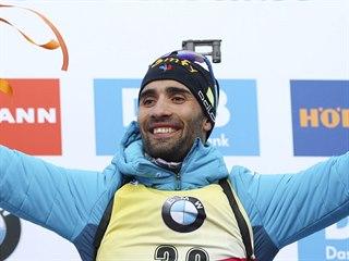 Martin Fourcade na nejvyšším stupni po vytrvalostním závodě na MS v Anterselvě.