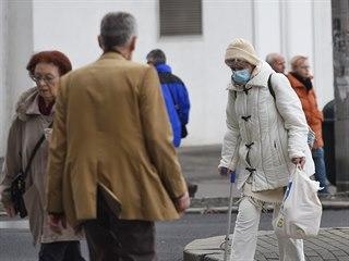 V ulicích Ústí nad Labem lze potkat lidi v rouškách.