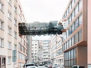 Vizualizace mostu mezi domy v Lihovarské ulici v Praze.