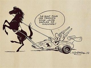 Asterix řídí Ferrari, litografie od Alberta Uderza