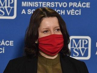 Ministryně práce a sociálních věcí Jana Maláčová vystoupila v Praze na tiskové...