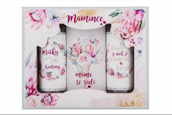 Dárkový kosmetický balíček Mamince s extrakty z růží a šípků – sprchový gel, šampon, sůl, cena: 189 Kč