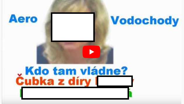 Printscreen videa, které mělo dehonestovat pracovnici společnosti Aero Vodochody (jméno a tvář jsme anonymizovali)