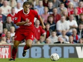 Mladý Milan Baroš v dresu Liverpoolu. Snímek je z podzimu 2002.