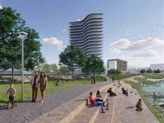 """Architekti z pražského studia CASUA navrhli vybudovat bytový """"mrakodrap"""" s 19...."""