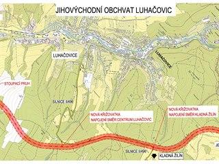 Plánovaná trasa obchvatu Luhačovic.