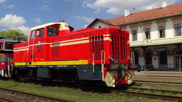 Lokomotiva T426.003 ve stanici Kladno