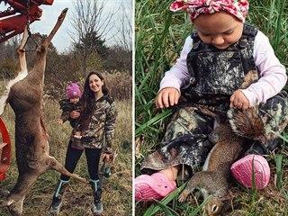 Beka Garrisová chodí lovit zvířata s dvouletou dcerkou.