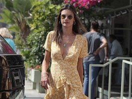 Alessandra Ambrosio shows off her long legs in a Summer dress while out for...