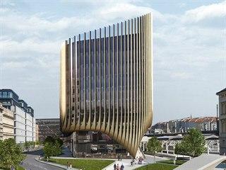 Budova, která má vzniknout v sousedství Masarykova nádraží. Pohled z ulice V...