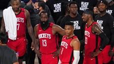 P. J. Tucker, James Harden (13), Russell Westbrook (0), Robert Covington (33) a...