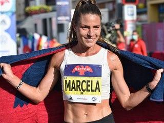 Marcela Joglová v cíli Ústeckého půlmaratonu