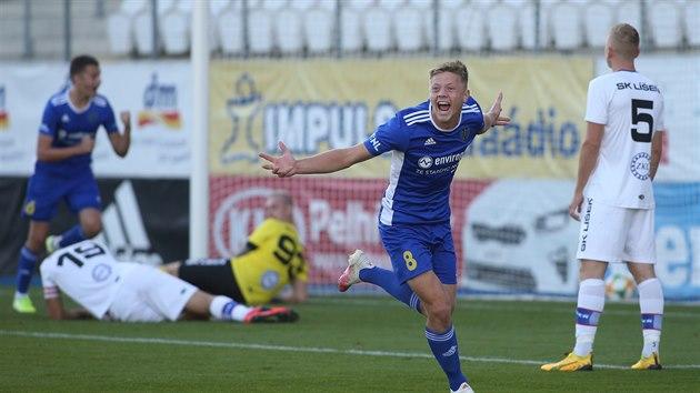 Lukáš Červ slaví gól Jihlavy v utkání proti Líšni.