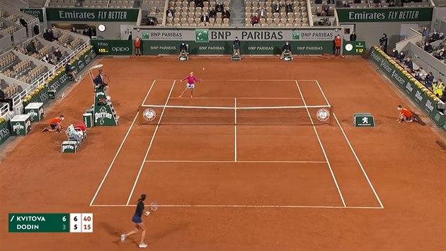 Kvitová je na Roland Garros ve druhém kole, Dodinovou porazila 6:3 a 7:5