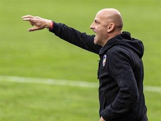 Plzeňský trenér Adrian Guľa gestikuluje během zápasu s Olomoucí.