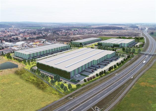 Na vizualizaci je původní záměr investora, který chce u dálnice D3 stavět haly. Výsledek bude ale vypadat jinak, protože ho firma v současné době přepracovává včetně dopravy.