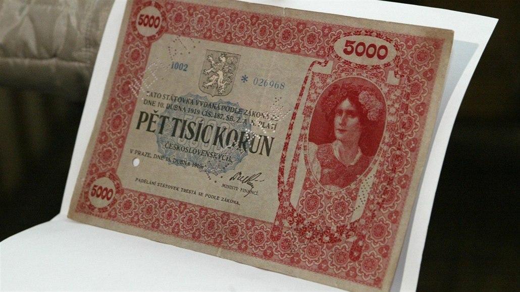 Za pět tisíc minimálně milion. Do dražby jde vzácná bankovka z roku 1919