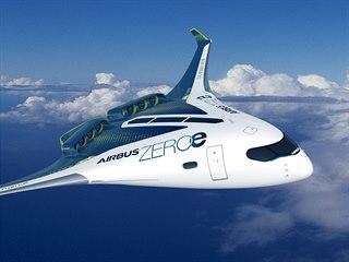 Koncept letadla s vodíkovým pohonem ZEROe od francouzské společnosti Airbus....