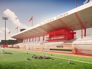 Vizualizace rekonstrukce stadionu Viktorie Žižkov.